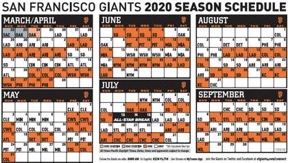 picture relating to Indians Schedule Printable known as Giants launch 2020 plan, which involves 2 openers