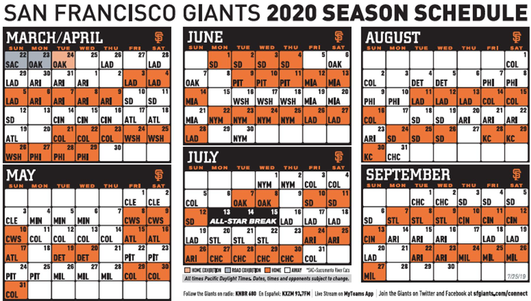picture about Diamondbacks Schedule Printable named Giants launch 2020 timetable, which features 2 openers