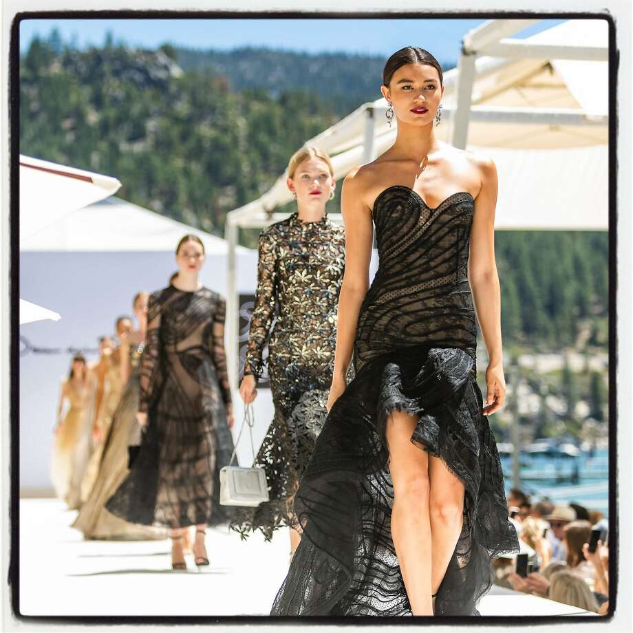Pre-Spring 2020 Oscar de la Renta gowns on the runway at the League to Save Lake Tahoe Fashion Show. Aug. 3, 2019. Photo: Arthur Kobin / Drew Altizer Photography