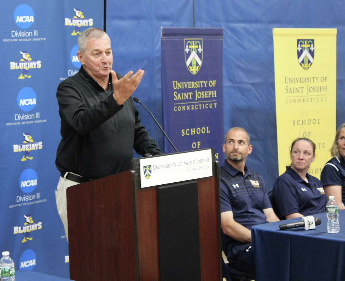 University of Saint Joseph's Jim Calhoun speaks at a news conference in West Hartford, Conn. on Wednesday, May 16, 2018.