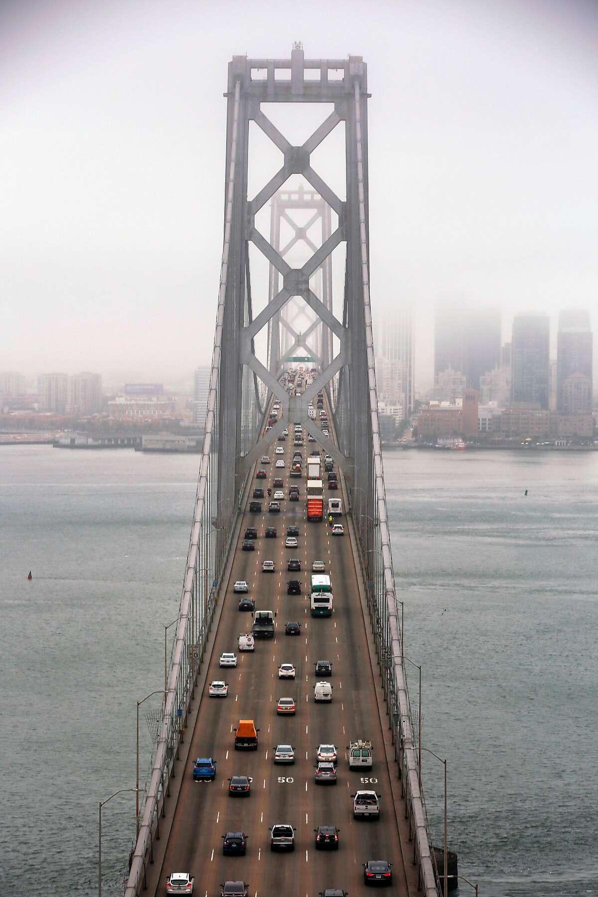 Traffic on the Bay Bridge Monday morning, July 8, 2019, as seen from Yerba Buena Island in San Francisco, Calif.