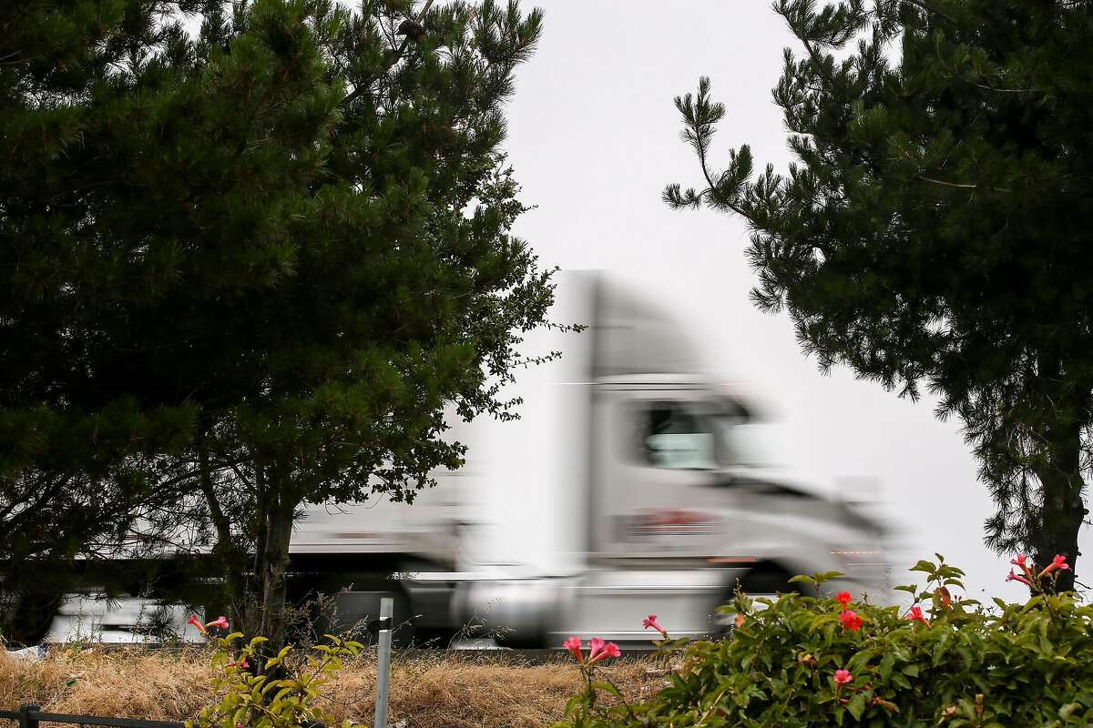 A truck takes an exit off of I-80 and I-580 traffic on Monday, July 8, 2019, in Berkley, Calif.