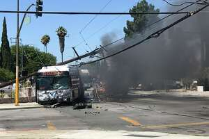 A VTA bus was badly damaged Monday during a crash and fire near the Eastridge Mall.