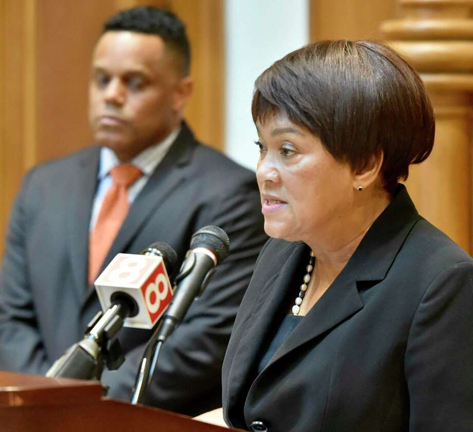 New Haven, Connecticut - Monday, August 12, 2019: New Haven Mayor Toni N. Harp, right, with Controller Daryl Jones, left, announce a comprehensive, five-year strategic financial plan for the City of New Haven during a press conference Monday afternoon at New Haven City Hall. Photo: Peter Hvizdak / Hearst Connecticut Media / New Haven Register