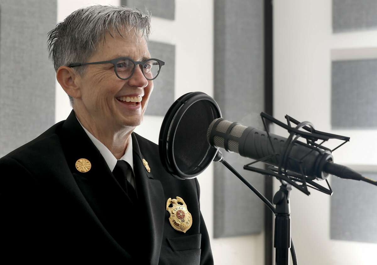 New SF fire chief Jeanine Nicholson talks while doing a new episode of SF City Insider podcast on Tuesday, Aug. 6, 2019 in San Francisco, Calif.
