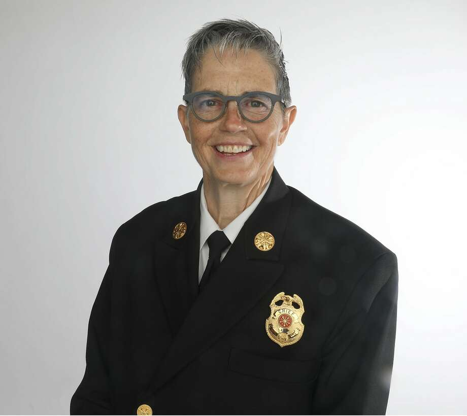 New Fire Chief Jeanine Nicholson remembers her fascination with a firehouse set up as a polling place, which her dad took her to as a girl in Pelham, N.Y. Photo: Liz Hafalia / The Chronicle