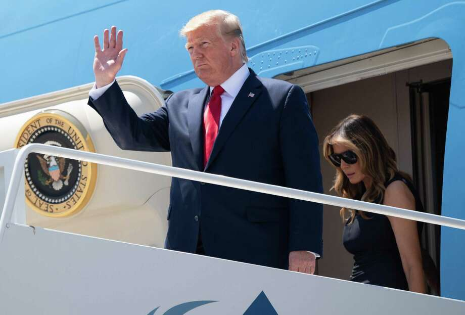 Donald and Melania Trump disembark from Air Force One upon arrival at El Paso International Airport on Wednesday as he travels to Dayton, Ohio and El Paso following mass shootings in the two cities. Photo: Saul Loeb /Getty Images / AFP or licensors
