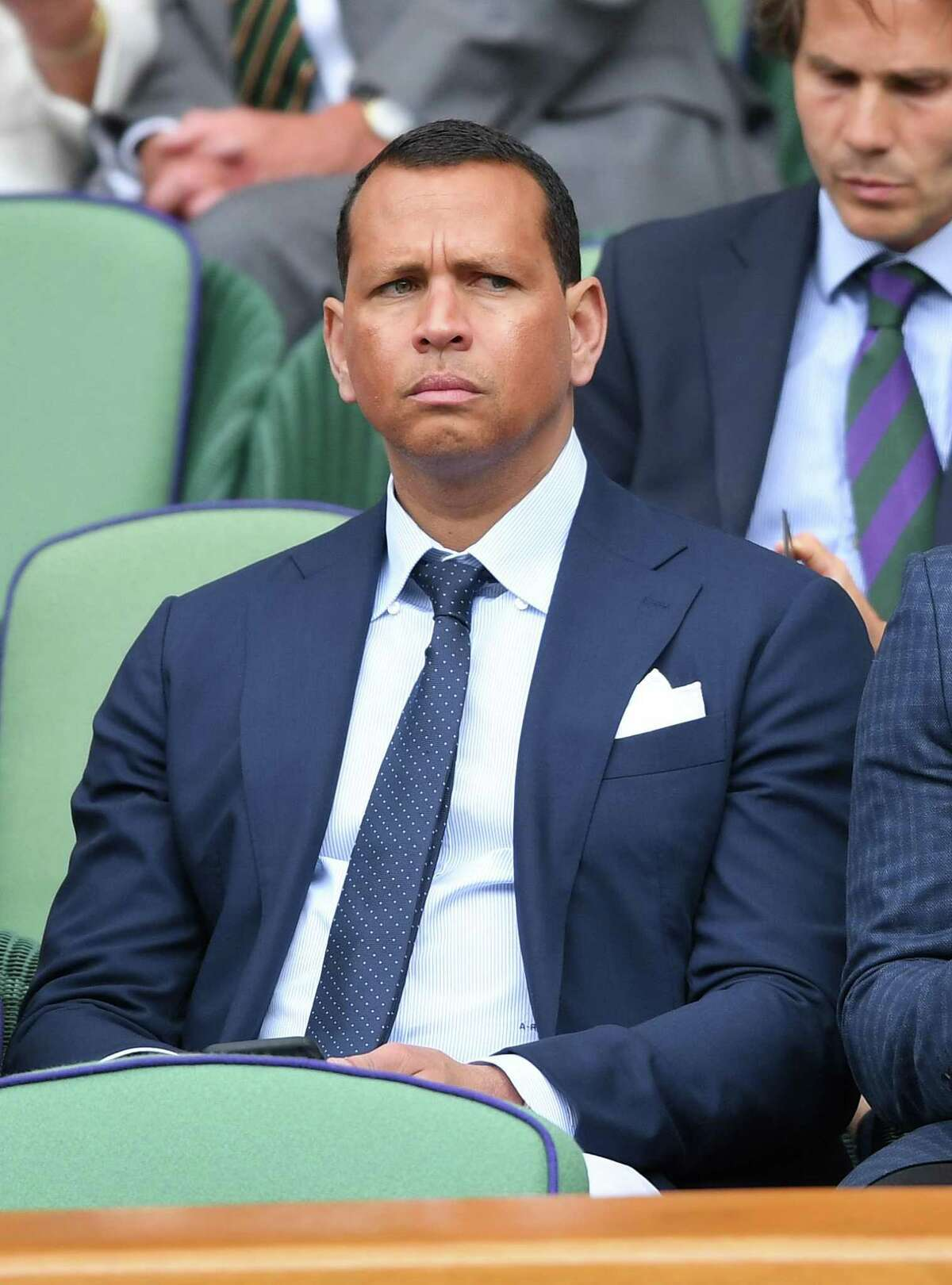 FILE - Alex Rodriguez attends day one of the Wimbledon Tennis Championships at All England Lawn Tennis and Croquet Club on July 01, 2019 in London, England. Rodriguez was part of a group whose car was broken into Sunday in San Francisco, with items initially reported as totaling $500,000. A rep for Rodriguez later disputed that figure.