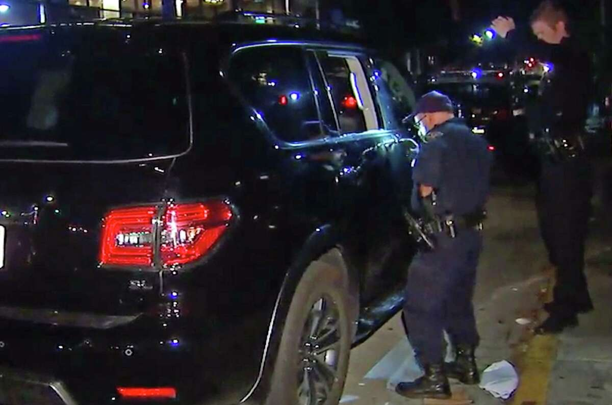 A thief reportedly smashed into baseball legend Alex Rodriguez's rental SUV near Oracle Park.