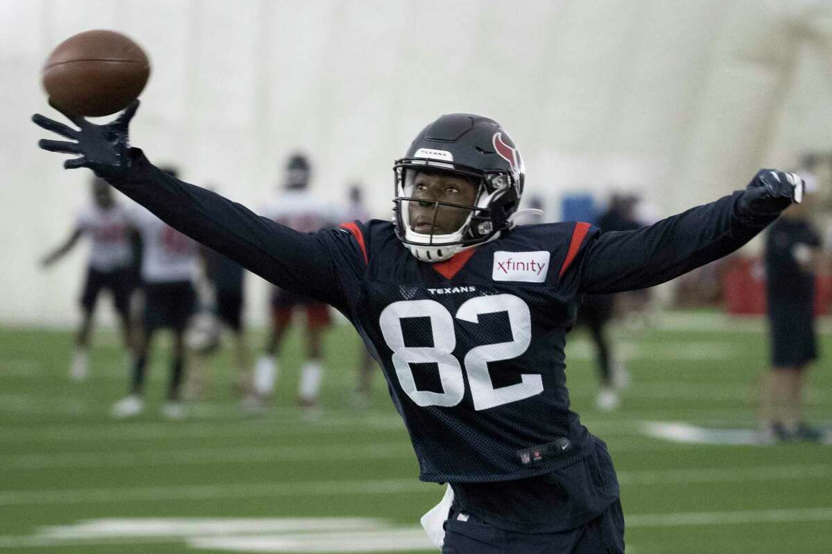 Houston Texans wide receiver Floyd Allen reaches out for a ball during training camp at the Houston Methodist Training Center on Monday, Aug. 12, 2019, in Houston.