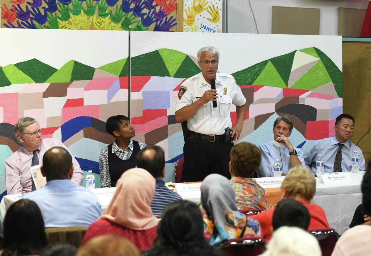 Stamford Acting Police Chief Tom Wuennemann speaks at the Together We Stand #StamfordWelcomesImmigrants community meeting at Building One Community Aug. 12. Mayor David Martin has asked the Board of Representatives to extend the tenure of Wuennemann until April.