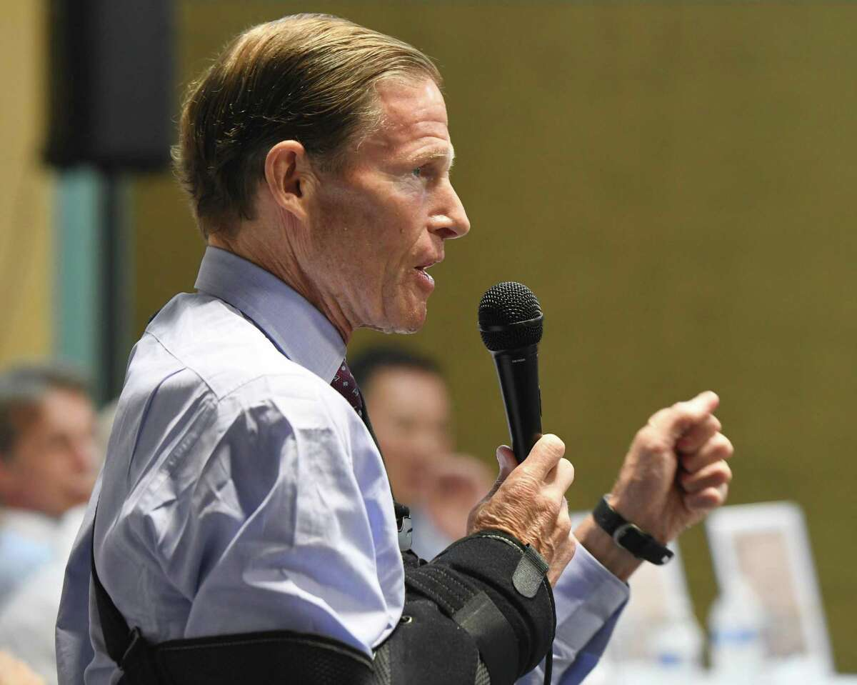 U.S. Sen. Richard Blumenthal speaks at the Together We Stand #StamfordWelcomesImmigrants community meeting at Building One Community in Stamford, Conn. Monday, Aug. 12, 2019. In the wake of recent mass shootings in El Paso and Dayton, local immigrants shared their stories in front of representatives from the Stamford Police Department, Stamford Public Schools, City Government and Interfaith Council in a message of unity and support.