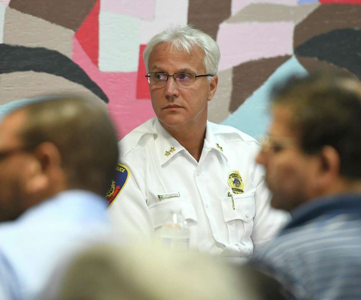 Stamford Acting Police Chief Tom Wuennemann listens during the Together We Stand #StamfordWelcomesImmigrants community meeting at Building One Community in Stamford, Conn. Monday, Aug. 12, 2019. In