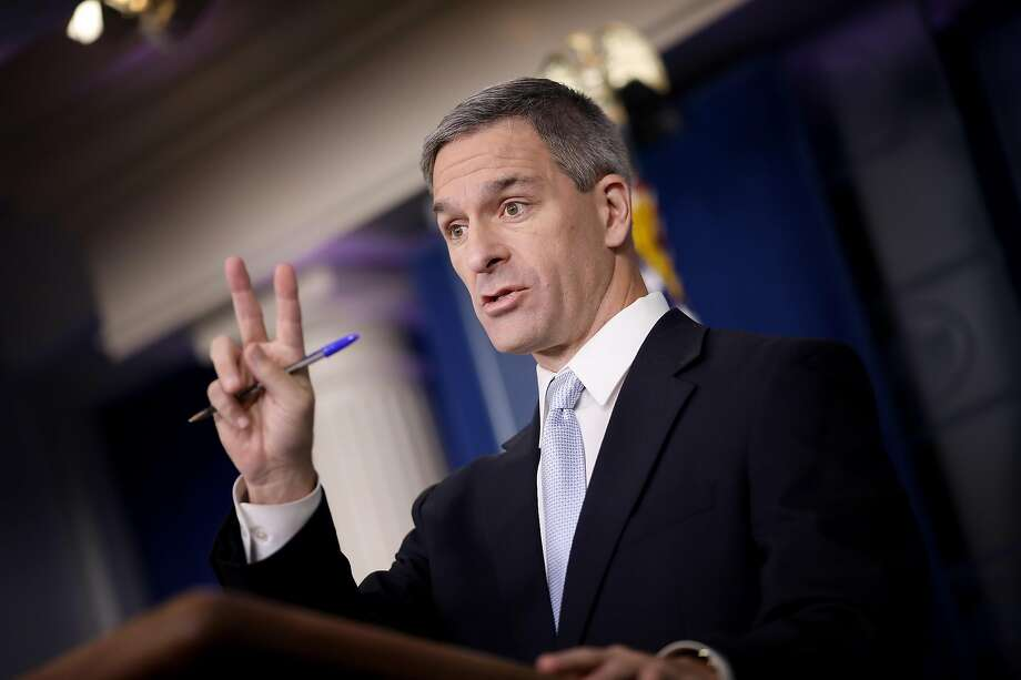WASHINGTON, DC - AUGUST 12:  Acting Director of U.S. Citizenship and Immigration Services Ken Cuccinelli speaks about immigration policy at the White House during a briefing August 12, 2019 in Washington, DC. During the briefing, Cuccinelli said that immigrants legally in the U.S. would no longer be eligible for green cards if they utilize any social programs available in the nation. (Photo by Win McNamee/Getty Images) Photo: Win McNamee / Getty Images