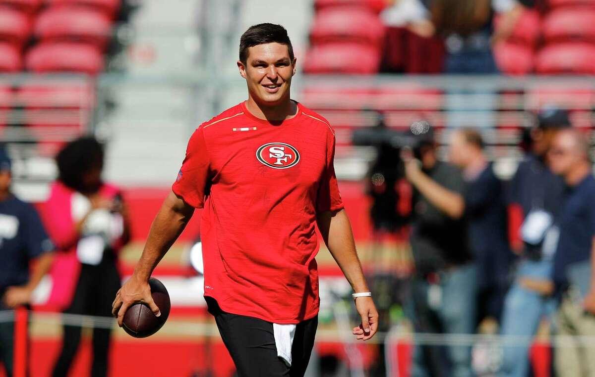 San Francisco 49ers quarterback Nick Mullens warms up before an NFL preseason football game.