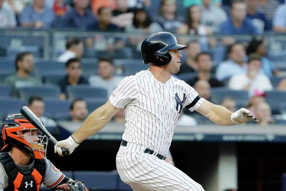 New York Yankees' Brett Gardnerj follows through on a three-run triple during the first inning of the second game of a baseball doubleheader against the Baltimore Orioles, Monday, Aug. 12, 2019, in New York. (AP Photo/Frank Franklin II) Photo: Frank Franklin II / Copyright 2019 The Associated Press. All rights reserved.