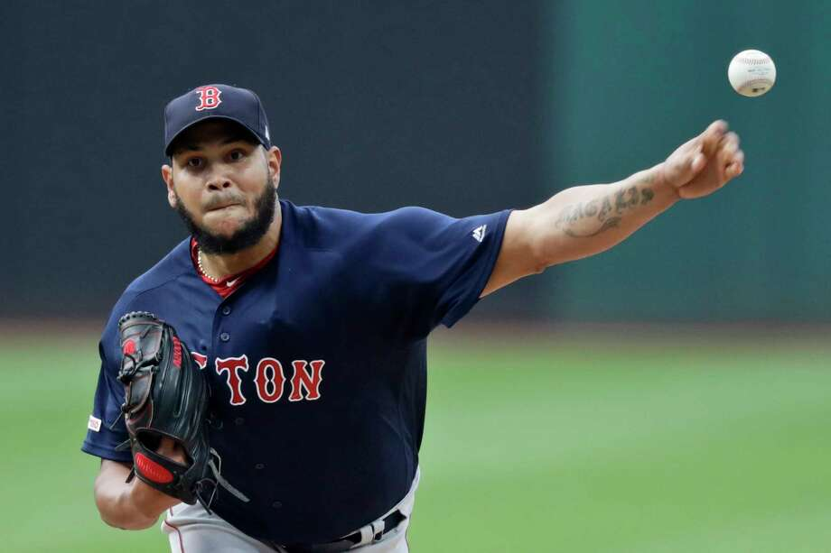 Boston Red Sox starting pitcher Eduardo Rodriguez delivers in the first inning of a baseball game against the Cleveland Indians, Monday, Aug. 12, 2019, in Cleveland. (AP Photo/Tony Dejak) Photo: Tony Dejak / Copyright 2019 The Associated Press. All rights reserved.