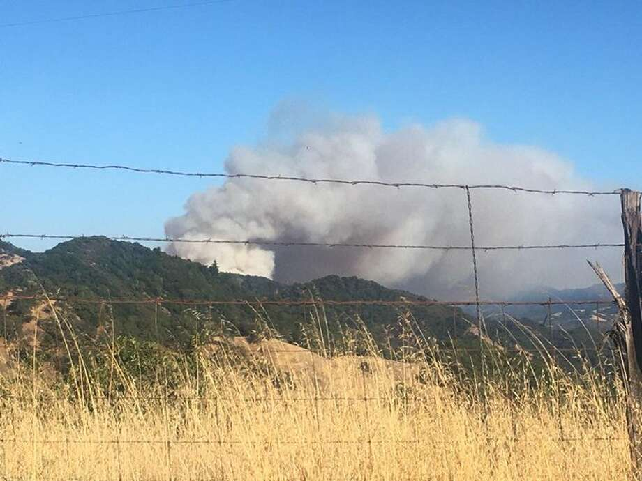 Smoke rise into the air from the Moose Fire in Mendocino County. The National Weather Service reported that wind carried smoke from the Moose Fire into the San Francisco Bay Area on Monday. Photo: Courtesy Of The Mendocino County Sheriff's Office