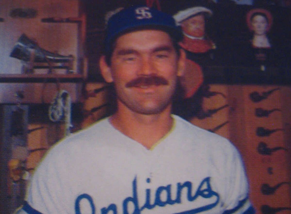 Manager Bruce Bochy in his first year as a head coach with the Spokane Indians. We have no idea what Henry VIII and Anne Boleyn (?) have to do with Class A Minor League Baseball.