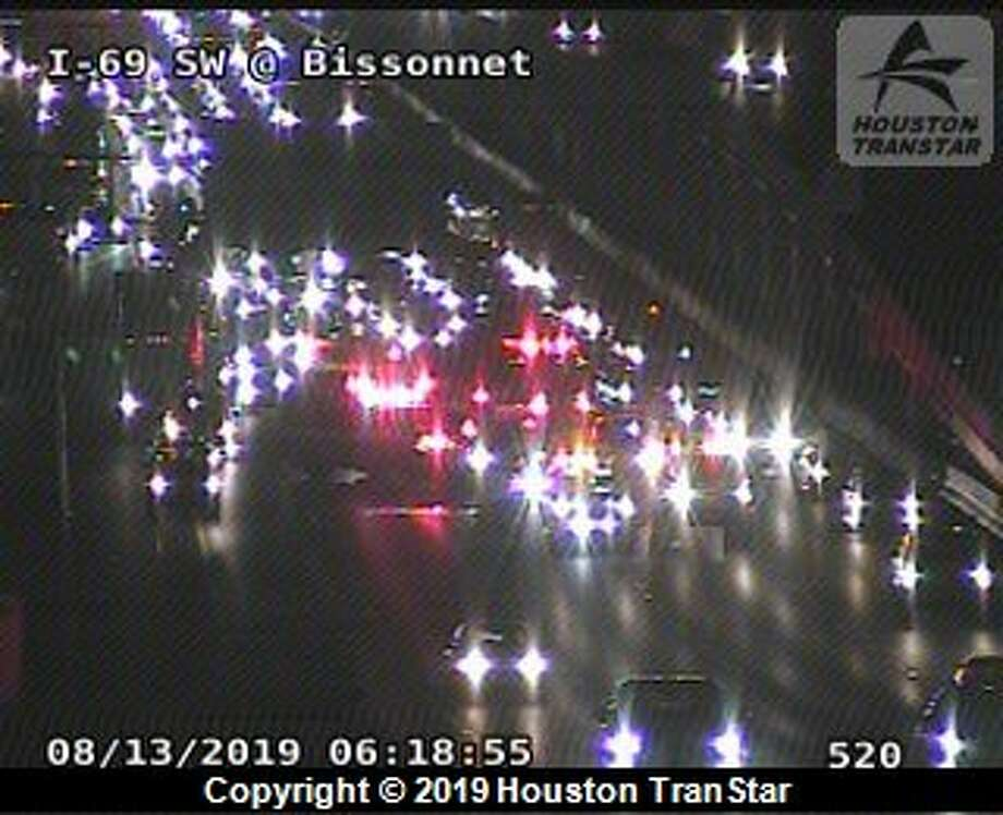 Houston police are responding to a crash at Interstate 69 at Bissonnet. Photo: Houston TranStar