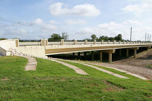 The new bridge over Cibolo Creek during a ribbon cutting ceremony held by the City of Selma to celebrate the completion of the reconstruction of Lookout Road at its intersection with Evans Road on Friday, Aug. 9, 2019. The $9 million project, which included the bridge and drainage improvements, was approved by Selma voters in 2014.