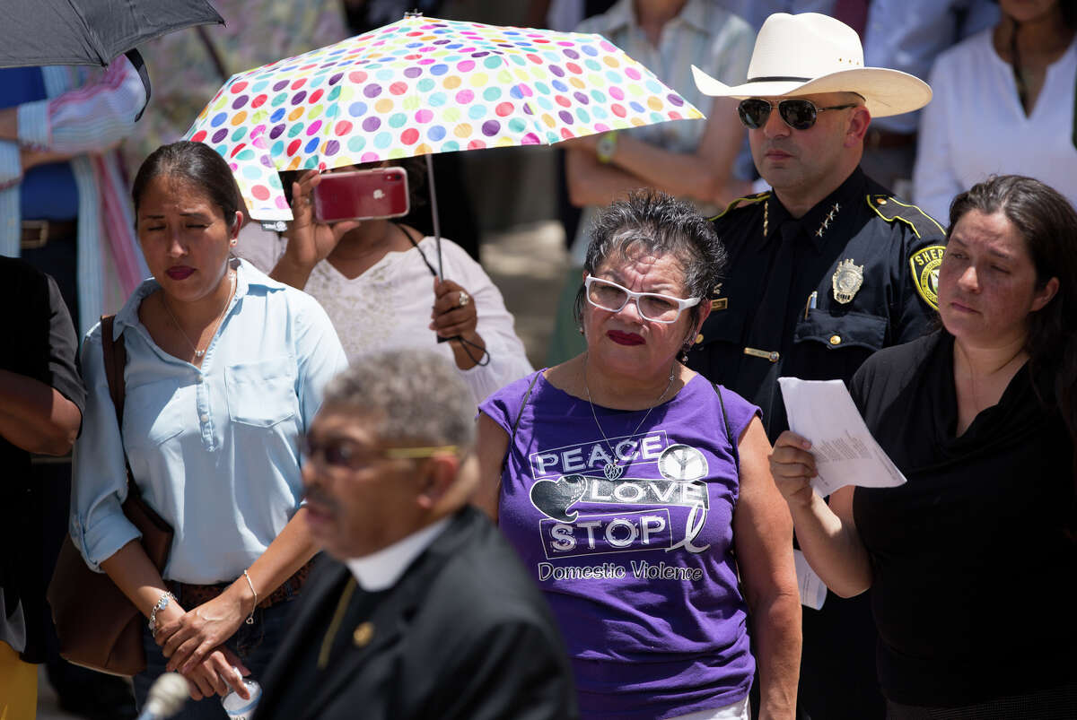 """Bishop David M Copeland speaks to community members and those watching a live broadcast about the recent violence seen around the nation, Monday, August 12, 2019, at the Main Plaza downtown San Antonio. Sister Cities around the nation gather together at noon to speak up and out about the recent shootings and the violence seen throughout our nation. Claudette Copeland, Pastor of New Creation Christian Fellowship shared the importance of the gathering in San Antonio. """"People get amnesia quickly about trauma, death and dying. If El Paso did not wake us up, if the slaughter of innocent people did not move us, the people of goodwill must cry out."""" """"It's a day to grieve and morn and a day to initiate action."""" Rebecca Slezak/Staff photographer"""