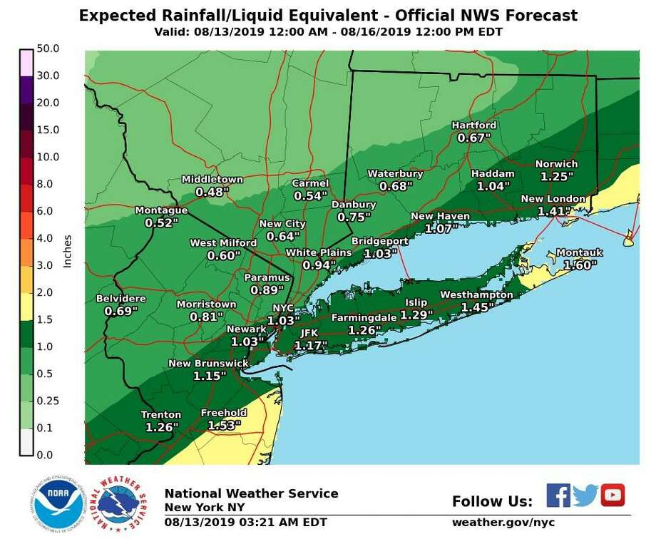 The National Weather Service predicted varied rainfall throughout Aug. 13 2019 Photo: Contributed / National Weather Service