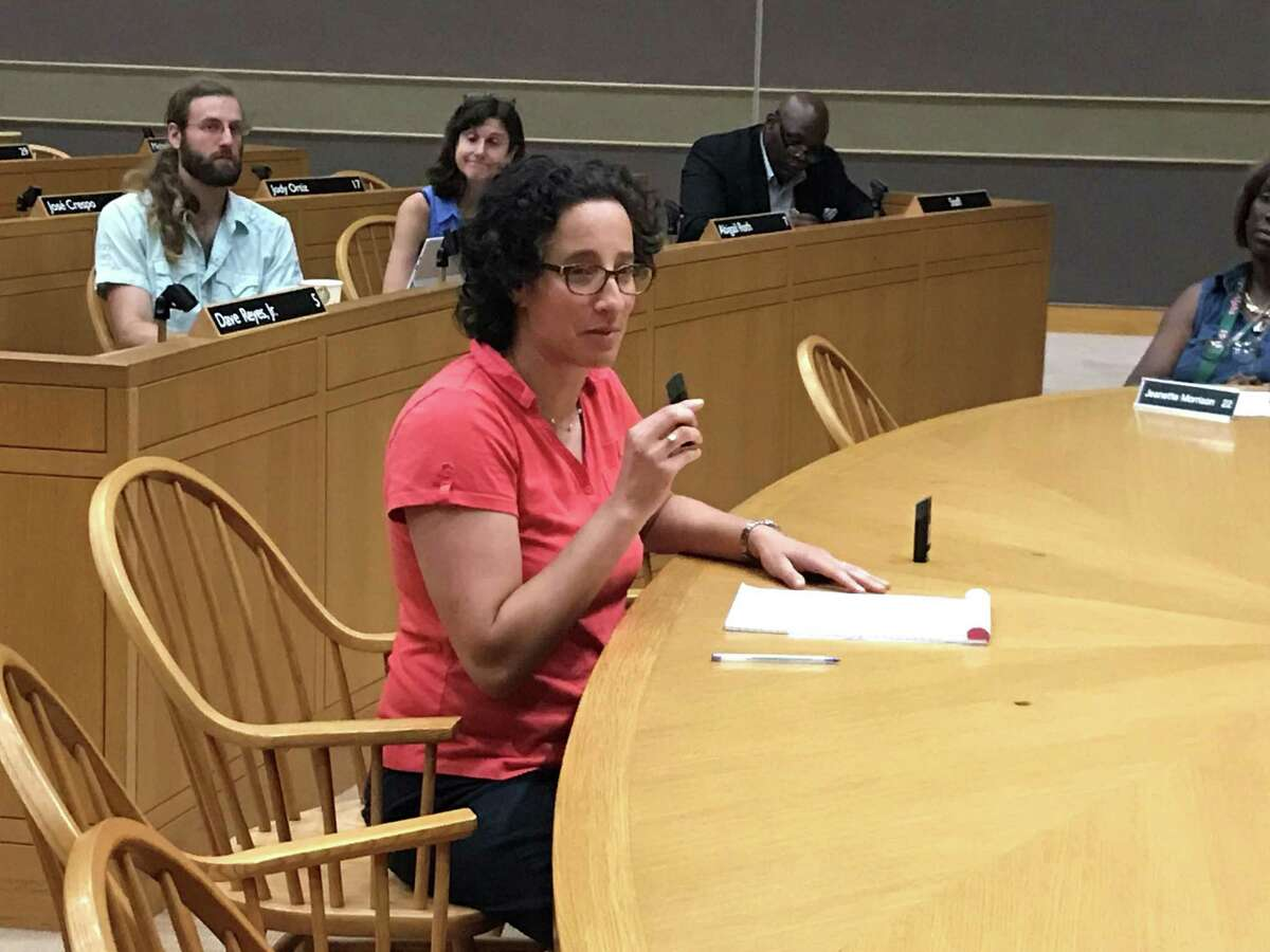 New Haven Legal Assistance Association lawyer Amy Marx testifies on Aug. 12, 2019.