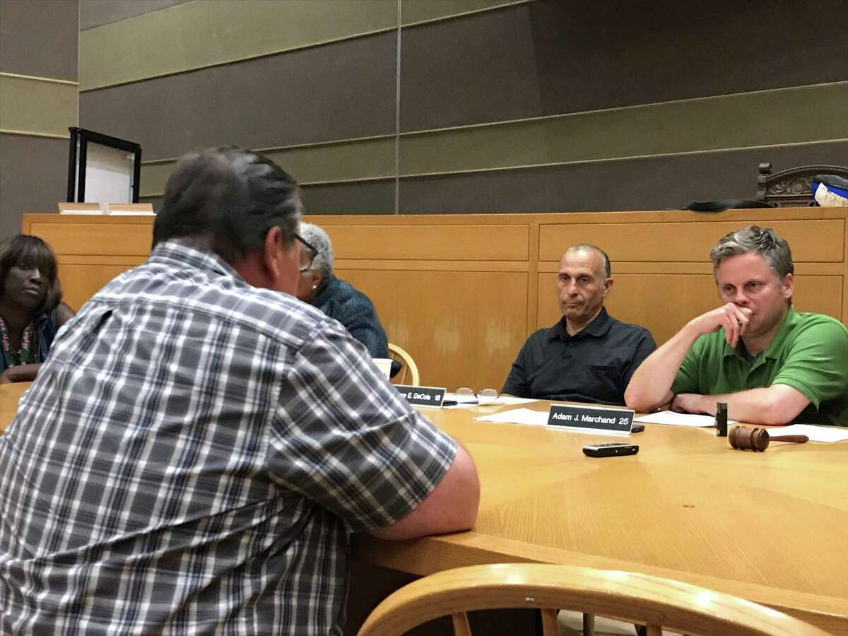Gary Doyens testifies about a proposal to transfer city funds to hire five lead inspectors on Aug. 12, 2019.