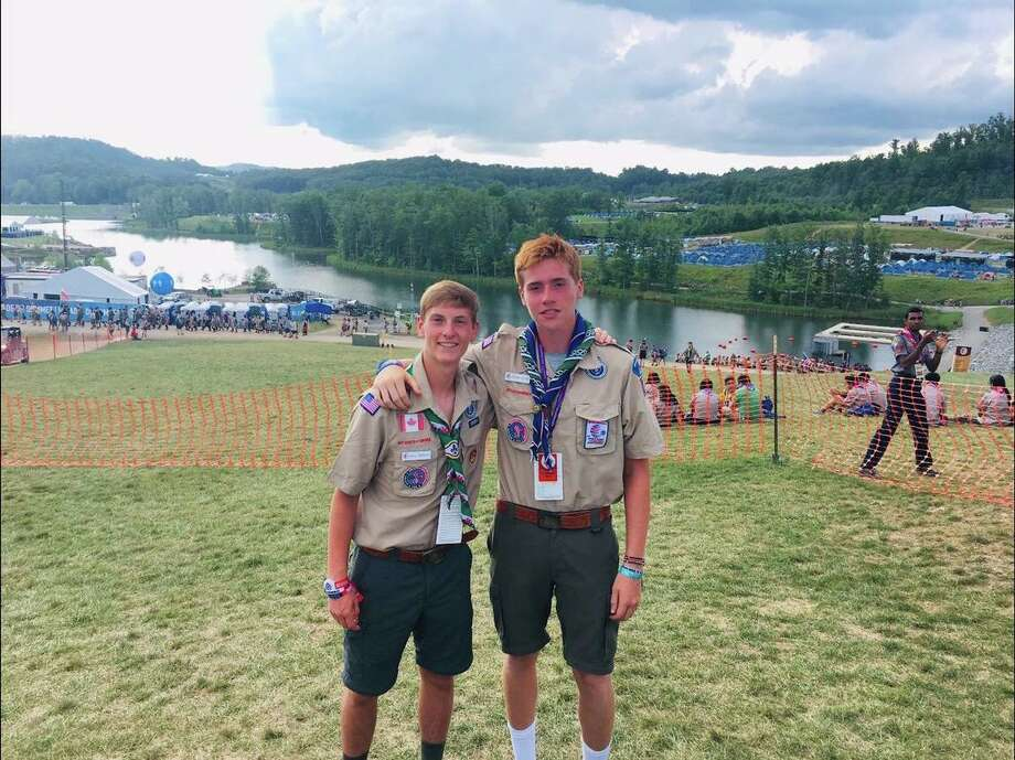 Will Morgan, left, and Frank Pirone at the World Scout Jamboree Photo: Darien Boy Scouts