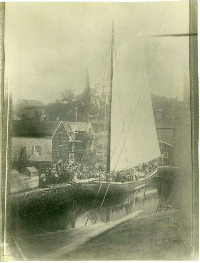 "This circa 1850 photograph of the merchant sloop ""Mary Willis"" at the Lockwood Dock in Norwalk bears resemblance to the Revolutionary War-era sloop ""The Sally,"" which will be the focus of local historian Madeleine Eckert's slide lecture, ""The Sally: The Adventures of a Norwalk Sloop During the American Revolution,"" on September 15, at the Townhouse at Mill Hill Historic Park in Norwalk. Tickets, at $8, will be available at the door day of lecture. Photo: Norwalk History Room / Contributed Photo"