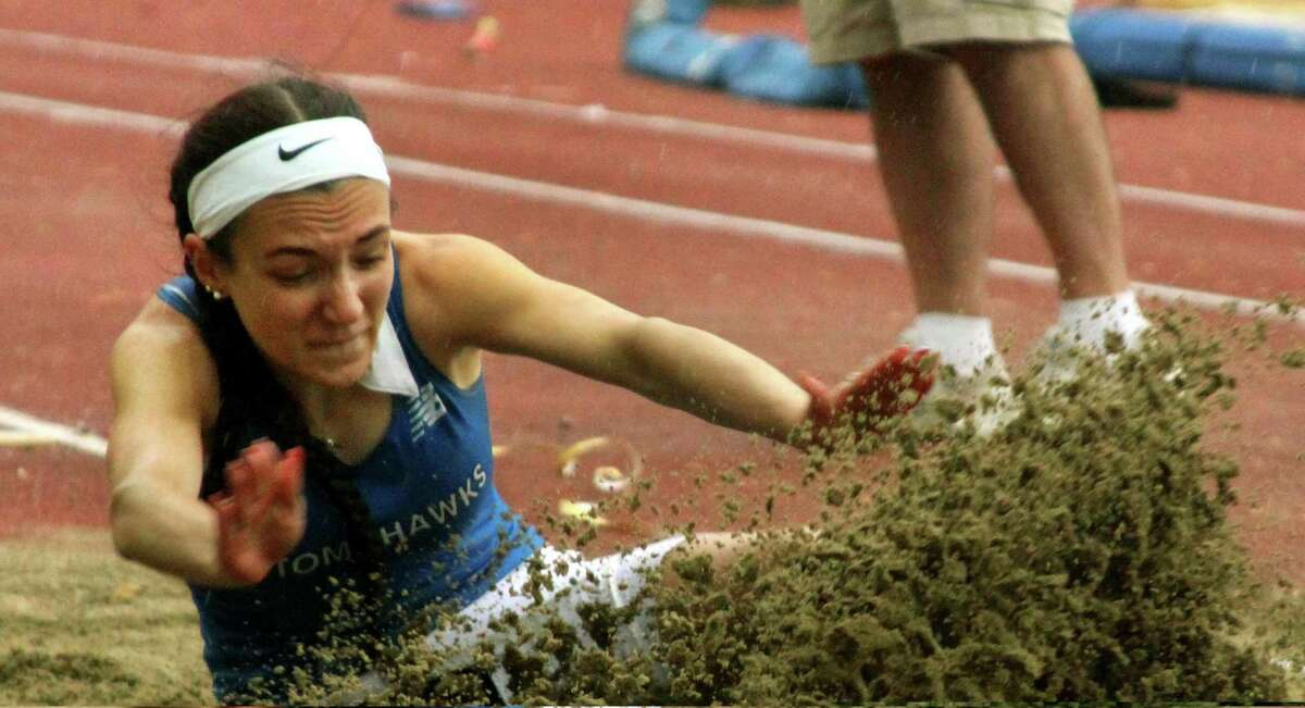 Glastonbury's Selina Soule competes in the girls long jump during Class LL track and field championship in New Britain, Conn., on Wednesday May 29, 2019.