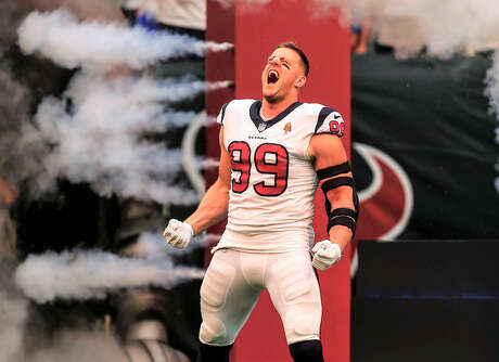J.J. Watt on the field at NRG Stadium at the 2018 0923 Giants home game.