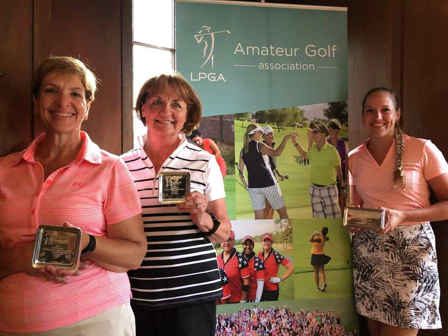 Three members of the local chapter of the LPGA Amateur Golf Association took honors in the 2019 LPGA Amateur Championship Northeastern District Semifinal atat Agawam Hunt Club in Rhode Island. Pictured from left are Michele Denny (3rd low net, Fourth Flight), Cathy Billa (3rd low gross, Third Flight), and Paige Scannapieco (2nd low net, Fourth Flight). Photo: Joyce Bassett, Times Union