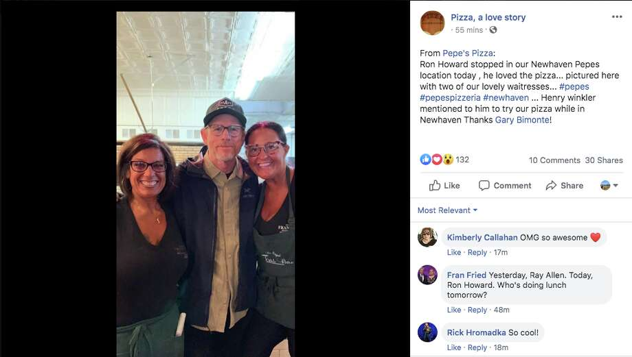 Director Ron Howard (middle) was seen dining at Frank Pepe's in New Haven. Photo: Google Maps