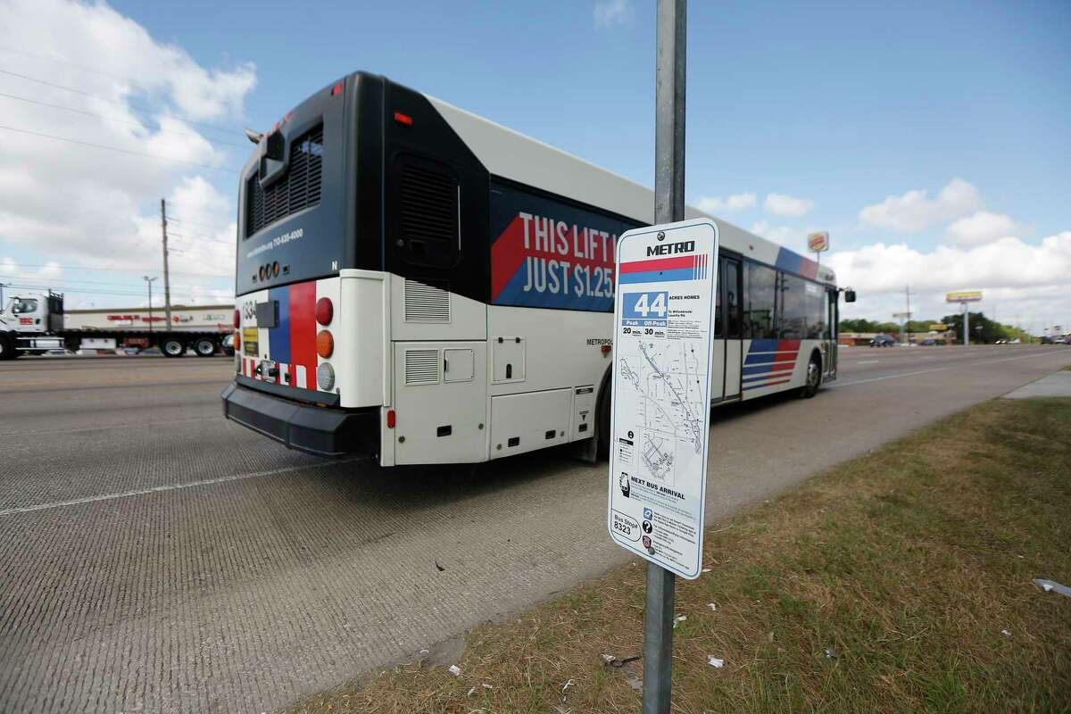 A bus passes by a 44 Acres Home route bus stop near Old Bammel North Houston Road and Texas 249 on Aug. 12, 2019, in Houston. Among proposed improvements to Metropolitan Transit Authority service is improved stops along major routes, such as the 44 Acres Homes.