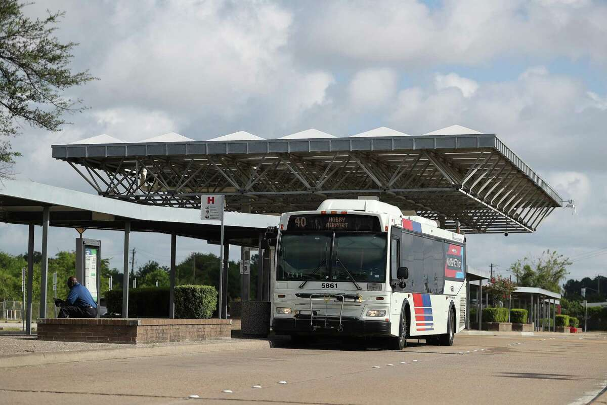 A bus departs the North Shepherd Park and Ride on Aug. 12. Metropolitan Transit Authority will ask voters for $3.5 billion in borrowing authority on the November ballot.