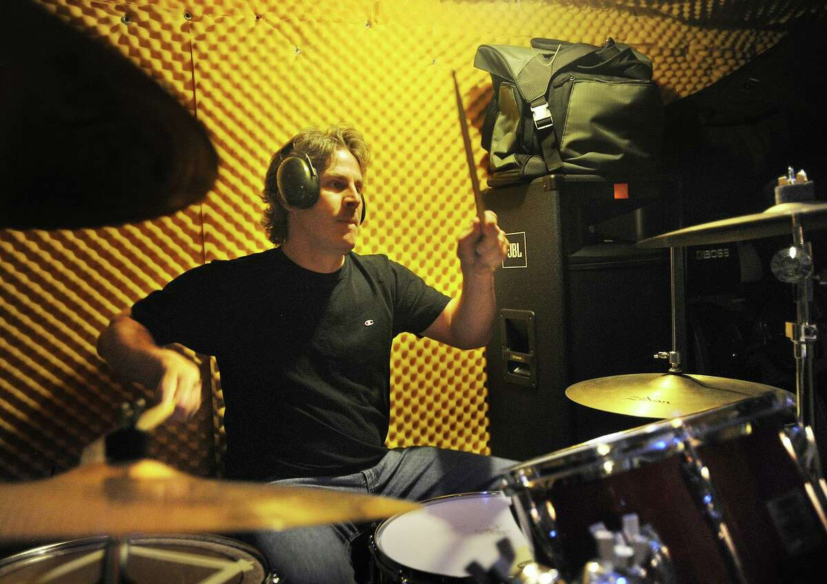 Drummer Chris Donlon, of Oxford, rehearses with State Sen. George Logan's Jimi Hendrix tribute band the Electric Lady Band. The band will perform Aug. 24, 2019 at Rock the Valley on Ansonia's Nolan Field.