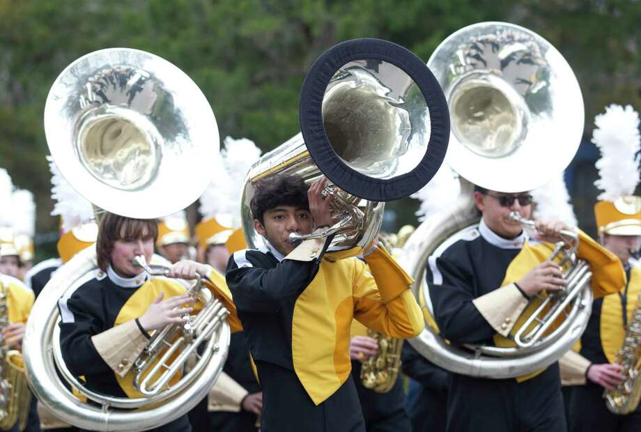 Members of the Conroe Tiger Band perform during the annual J-Mac Black History Parade, Saturday, Feb. 9, 2019, in Conroe. The Conroe High School Tiger Band, made up of 370 high school students, has been selected to play the national anthem before the Houston Texans game this Saturday at NRG Stadium. Photo: Jason Fochtman, Houston Chronicle / Staff Photographer / © 2019 Houston Chronicle