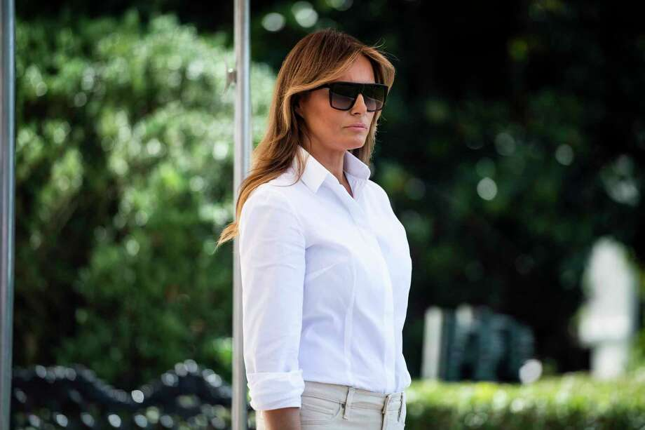 First lady Melania Trump prepares to board Marine One from the South Lawn at the White House on July 5. Photo: Washington Post Photo By Jabin Botsford / The Washington Post