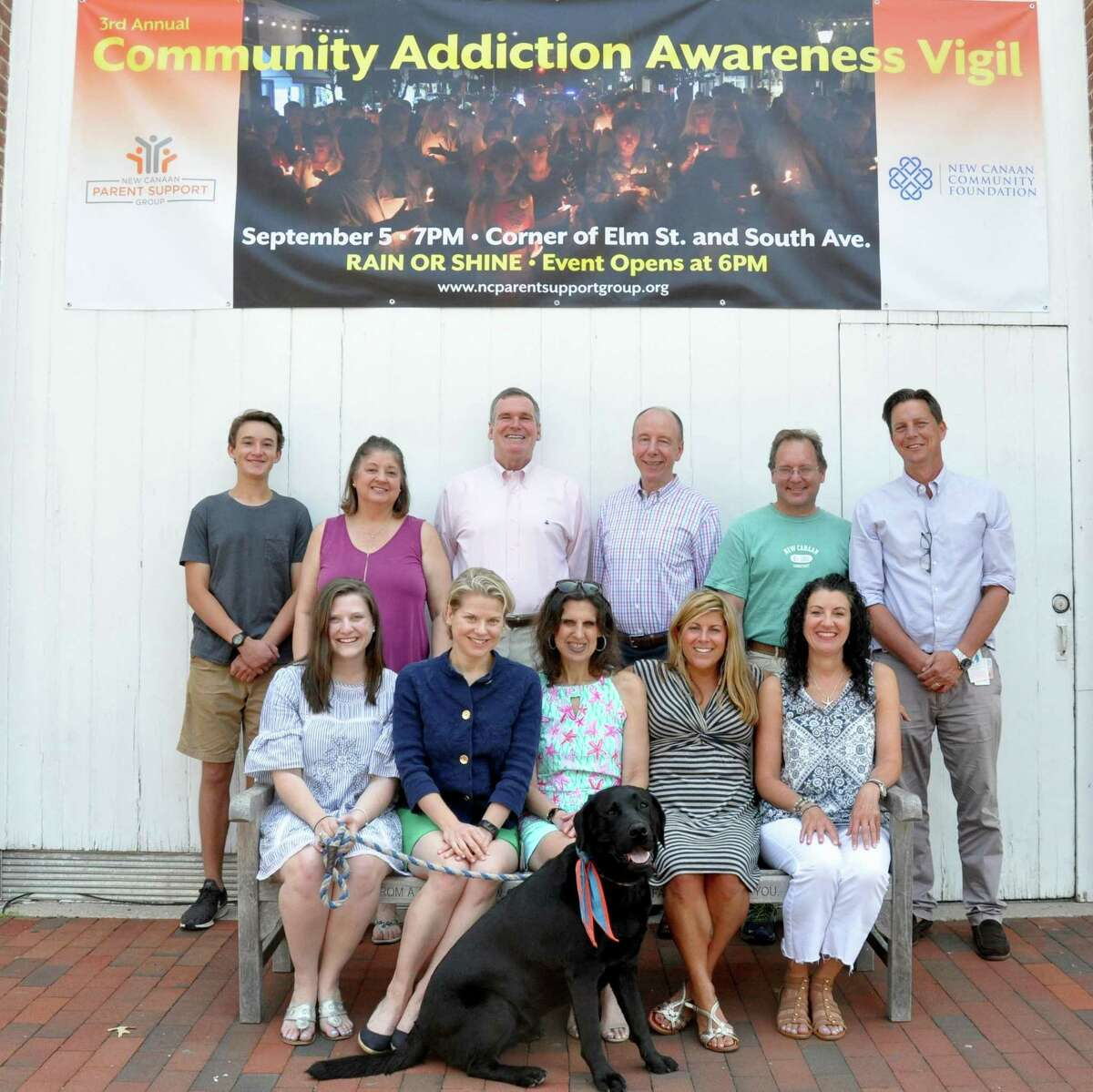 The New Canaan Parent Support Group, the New Canaan Community Foundation and other community partners have united to host the third annual Community Addiction Awareness Vigil at Elm Street a d South Avenue on Thursday, Sept. 5, starting at 6 p.m. In front are Nicole Kolenberg, New Canaan Community Foundation; Susannah Lewis, Silver Hill Hospital; Joyce Sixsmith, Ram Council; Jackie D'Louhy, Town of New Canaan; and Ellen Brezovsky, New Canaan CARES. In back are Ethan Jones, New Canaan High School Film student; Chris Otis, St. Aloysius Church; John Hamilton, Liberation Programs; Paul Reinhardt, New Canaan Parent Support Group; Derrick Fallon, St. Michael's Church and Peter Clark, Silver Hill Hospital.