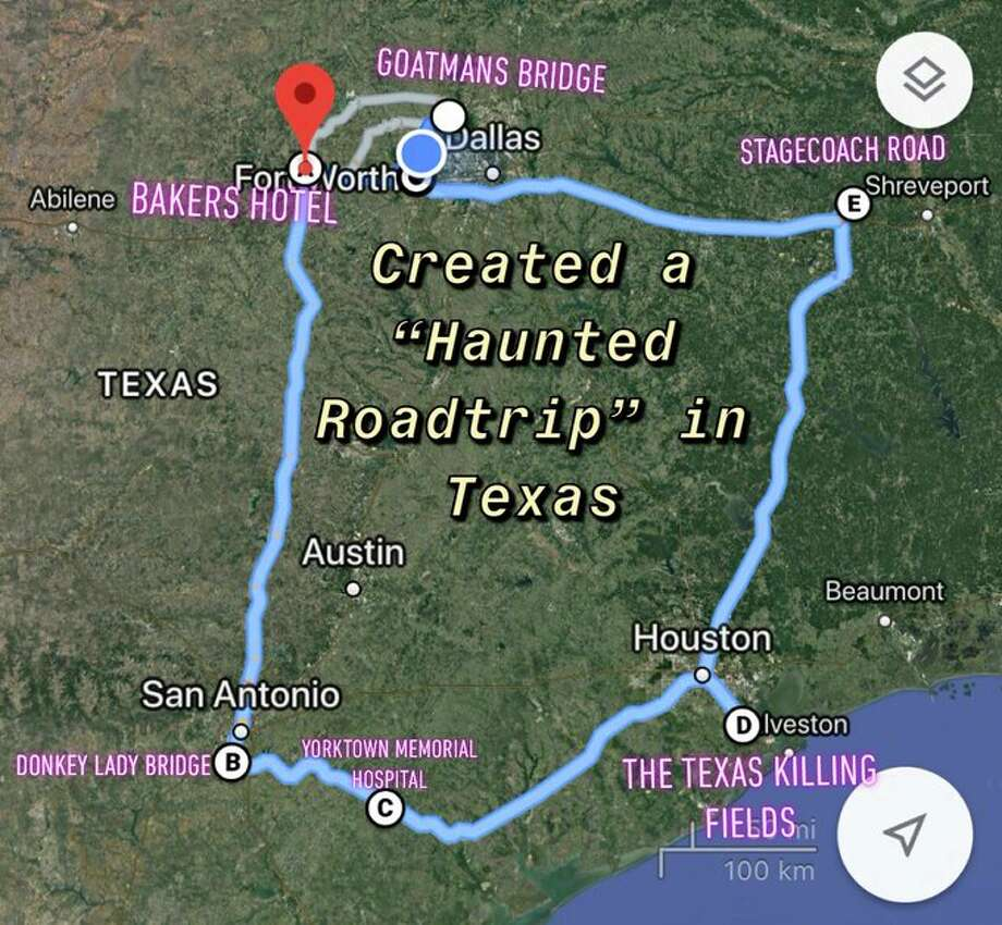 "A Texas man created a ""Haunted Roadtrip"" map that highlighted six spooky locations for him and his friends to visit soon, including the legendary Donkey Lady Bridge in San Antonio. Photo: Jonathan Forseth"