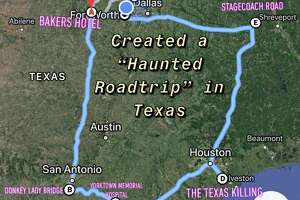 """A Texas man created a """"Haunted Roadtrip"""" map that highlighted six spooky locations for him and his friends to visit soon, including the legendary Donkey Lady Bridge in San Antonio."""