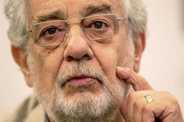 In this Friday, July 12, 2019 photo, Spanish tenor Placido Domingo during a press conference about his upcoming show ®Giovanna d¥Arco® in Madrid, Spain. (AP Photo/Bernat Armangue)