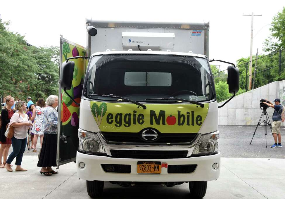 Capital Roots' new Veggie Mobile is unveiled on Tuesday, Aug. 13, 2019, at Capital Roots in Troy, N.Y. The truck is used to provide fresh produce to inner-city neighborhoods throughout the Capital Region. (Will Waldron/Times Union)