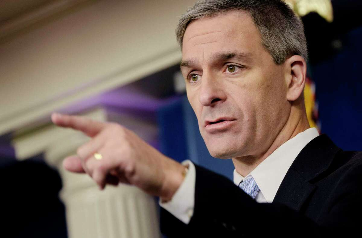 Kenneth Cuccinelli, acting Director of the Citizenship and Immigration Services, speaks to reporters at the White House in Washington, on Monday, Aug. 12, 2019. The Trump administration announced that it will penalize legal immigrants who rely on public programs, such as food stamps and government-subsidized housing, as part of a sweeping new policy to slow legal immigration into the U.S. and reduce the number of immigrants who are granted permanent legal status.