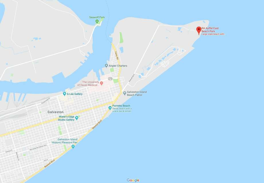 According to a news release from the Monaville VFD, the firefighters were boating just off the ship channel rock pier at R.A. Apfell East Beach Park in Galveston Saturday when they noticed a small pleasure craft on its side against the end of the pier. Photo: Google Maps