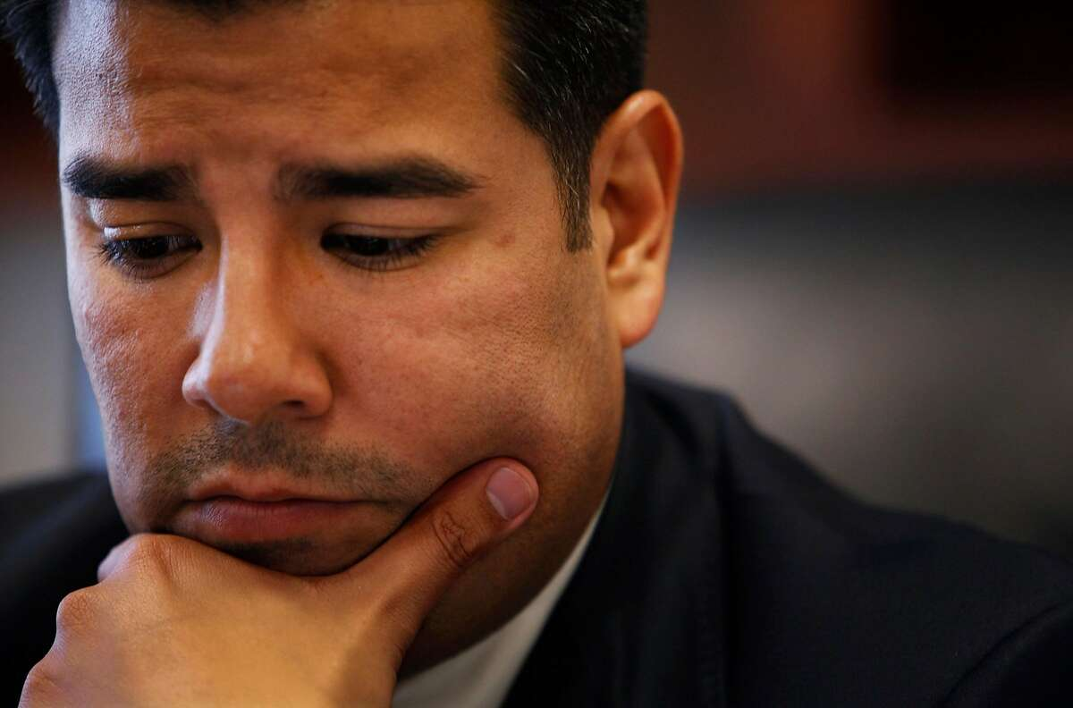 Senator Ricardo Lara (D-Bell Gardens) works in his office desk at the California State Capitol in Sacramento. Senator Lara's parents immigrated to the United States from Mexico, and their struggle has influenced how he legislates. (Photo by Katie Falkenberg/Los Angeles Times via Getty Images)