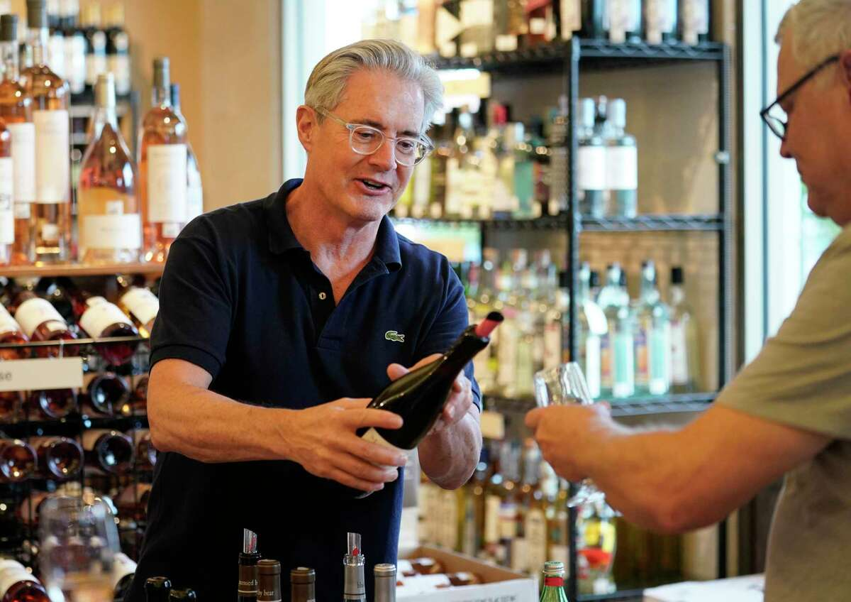 Kyle MacLachlan visited Houston Wine Merchant to hand-sell his trio of Pursued by Bear wines.