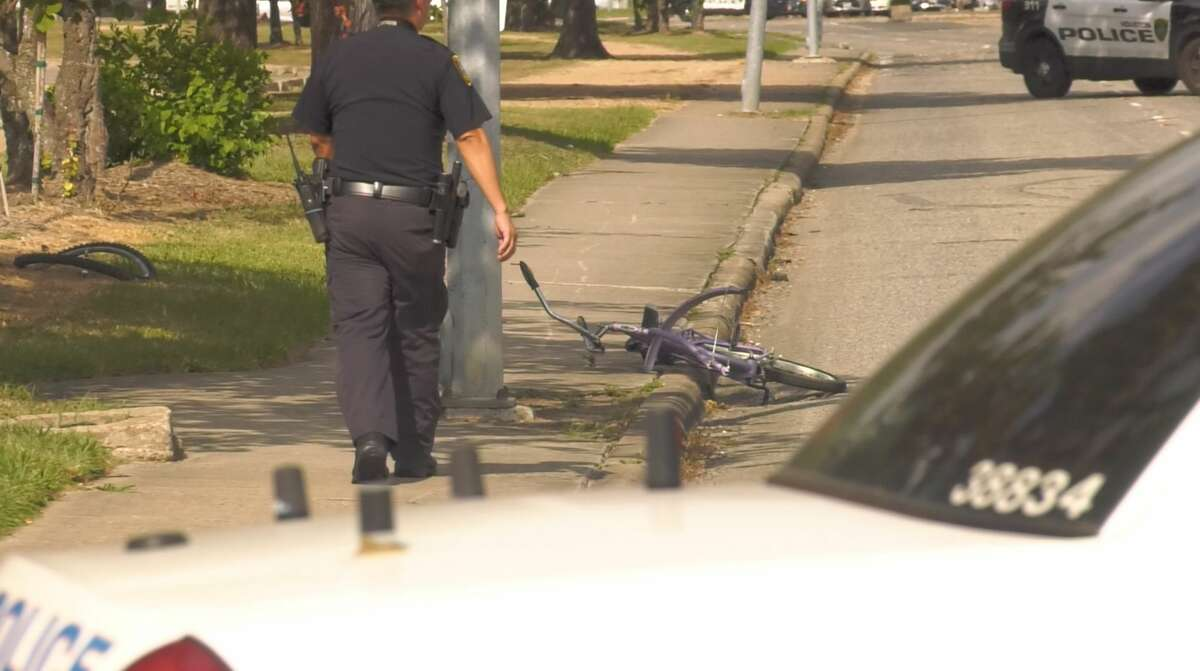 Jackson's bike was left laying against the sidewalk after he was hit and killed in southeast Houston in August 2019.